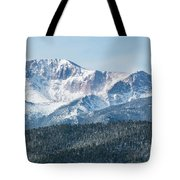 Early Morning Snow On Pikes Peak Tote Bag