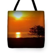 Early Morning Sunrise On A Silhouetted Beach Tote Bag