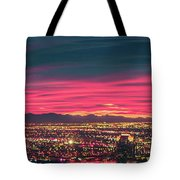 Early Morning Sunrise Over Valley Of Fire And Las Vegas Tote Bag