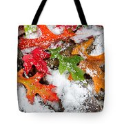Early Snow During Autumn  Tote Bag