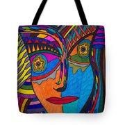 Earth And Aqua Mask - Abstract Face Tote Bag