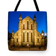 East Side Of Hexham Abbey At Night Tote Bag