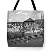 East St. Claire Covered Bridge Black And White Tote Bag