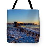 East Texas Snow, Lake Bob Sandlin, Texas. Tote Bag