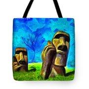Easter Island - Van Gogh Style - Pa Tote Bag