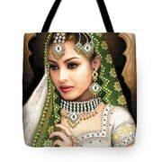 Eastern Beauty In Green Tote Bag