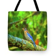 Eastern Blue Bird With Flair Tote Bag