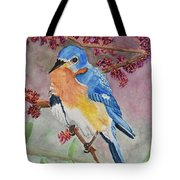 Eastern Bluebird Vertical  Tote Bag