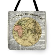 Eastern Hemisphere Earth Map Over Dictionary Page Tote Bag
