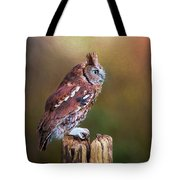 Eastern Screech Owl Red Morph Profile Tote Bag