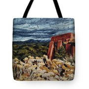 Echoes Of Tularosa, Museum Hill, Santa Fe, Nm Tote Bag by Erin Fickert-Rowland