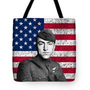 Eddie Rickenbacker And The American Flag Tote Bag