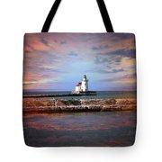 Edgewater Lighthouse Sunset Tote Bag
