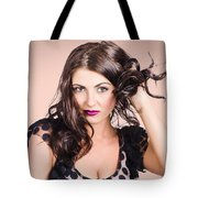 Edgy Hair Fashion Model With Brunette Hairstyle Tote Bag