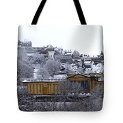 Edinburgh Castle And National Galleries Of Scotland In Winter Tote Bag
