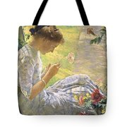 Edmund Charles Tarbell - Mercie Cutting Flowers 1912 Tote Bag