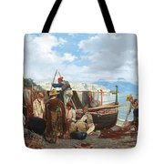 Eduardo Matania - Fishing Family In The Bay Of Naples 1872 Tote Bag