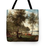 Edvard Bergh, Summer Landscape With Cattle And Birches. Tote Bag
