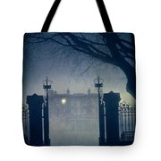 Eerie Mansion In Fog At Night Tote Bag