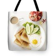 Egg Salad Toast Fruit And Coffee Breakfast Set Tote Bag