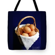 Eggs In A Wicker Basket. Tote Bag