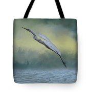 Egret Art I With Foreground Fog  Tote Bag