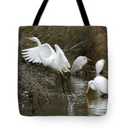 Egret Exit Tote Bag by George Randy Bass