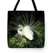 Egret Fan Dancer Tote Bag