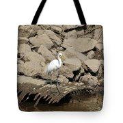 Egret Fishing Tote Bag