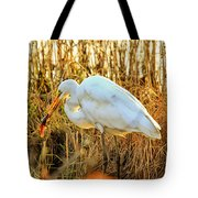 Egret Fishing In Sunset At Forsythe National Wildlife Refuge Tote Bag