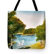 Egret Flying Over Texas Landscape Tote Bag