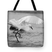 Egret Hunting In Black And White Tote Bag