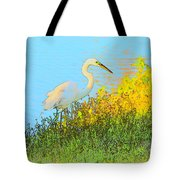 Egret In The Lake Shallows Tote Bag