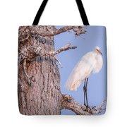 Egret In Tree Tote Bag