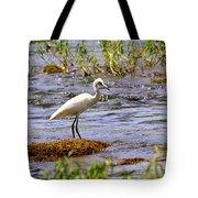 Egret On A Rock Tote Bag