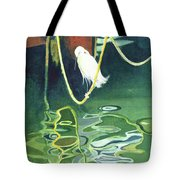 Egret On A Rope Tote Bag