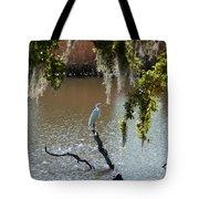 Egret On Stump Tote Bag
