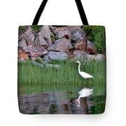 Egret On The Danvers River Tote Bag