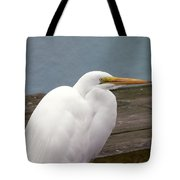 Egret On The Dock Tote Bag