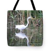 Egret On The Hunt Tote Bag