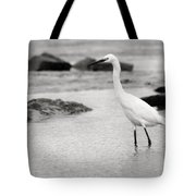 Egret Patrolling In Black And White Tote Bag