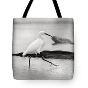 Egret Step In Black And White Tote Bag