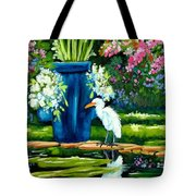 Egret Visits Goldfish Pond Tote Bag