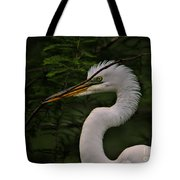 Egret With Branch Tote Bag