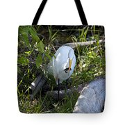 Egret With Crayfish Tote Bag