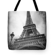 Eiffel Tower And Lamp Post Bw Tote Bag