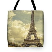Eiffel Tower And Pont D'lena Vintage Tote Bag
