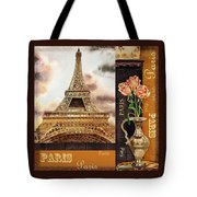 Eiffel Tower And Roses Tote Bag