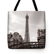 Eiffel Tower Black And White 3 Tote Bag by Andrew Fare