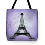 Eiffel Tower Collage Purple Tote Bag